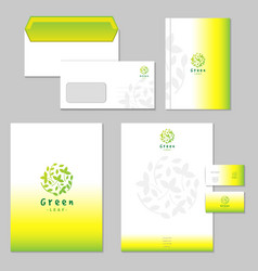 Business identity set green vector
