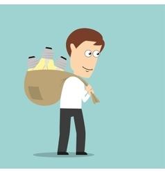 Businessman carrying idea light bulbs in bag vector image