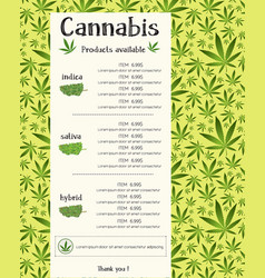 cannabis product for sale flyer template design vector image