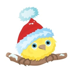 Cartoon little bird in Christmas Santa hat vector
