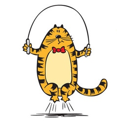 Cat jumps on the rope vector image