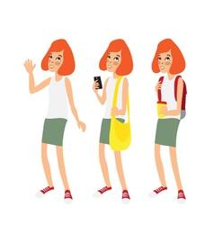 Caucasian ginger school girl vector image