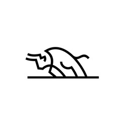 charging bull el toro logo icon line outline vector image