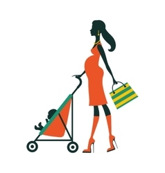 Chick fashion mom shopping with her baby in a vector