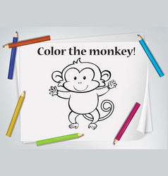 children monkey coloring worksheet vector image
