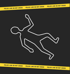 Classic crime scene with white outline body vector