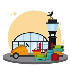 colorful airport over white background vector image
