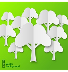 Composition of stylized white paper tree with shad vector image