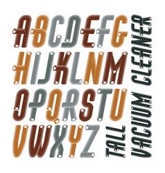 Condensed tall funky capital italic alphabet vector