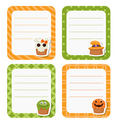 cute cards or stickers with halloween cupcakes vector image