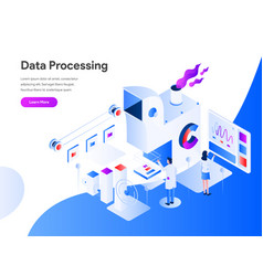Data processing isometric concept modern flat vector