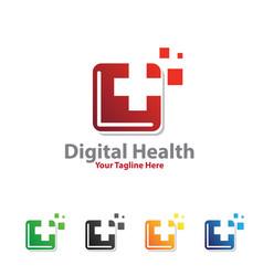 Digital medicine logo designs vector