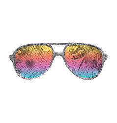 dotted sunglasses background vector image