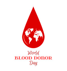 Drop of red blood with planet earth icon vector