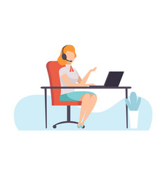 female call center worker online support service vector image