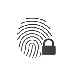 fingerprint icon with lock sign concept of vector image