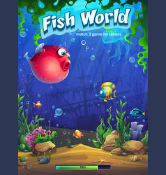 Fish world match three loading screen vector