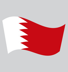 flag of bahrain waving on gray background vector image