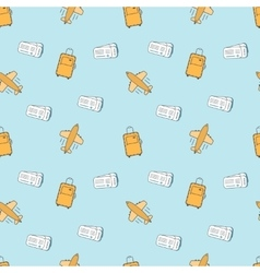 Flat line style seamless pattern Tourist luggage vector image