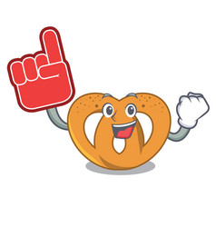 foam finger pretzel mascot cartoon style vector image
