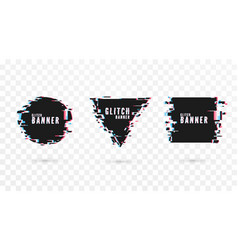 geometric shape banner with distortion effect vector image