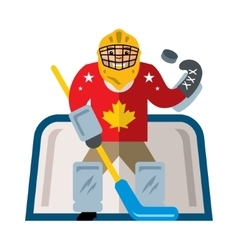 Hockey goalkeeper Flat style colorful vector image