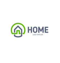 Home linear logo smart house line art vector