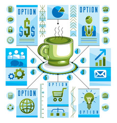 Infographics circular concept with cup of tee or vector