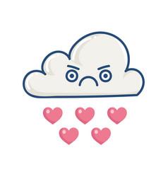 Kawaii angry cloud raining hearts vector