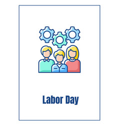 Labor day greeting card with color icon element vector