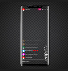 live stream screen on social media on smartphone vector image