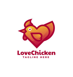 Logo love chicken gradient colorful style vector