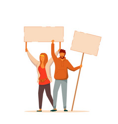male and female protester on white background vector image