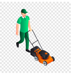 man cut grass icon isometric style vector image