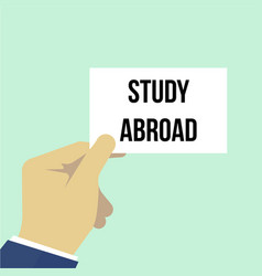 Man showing paper study abroad text vector