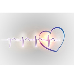 medical symbol ekg blue heart vector image