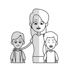 Mother with his kids icon vector