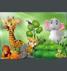 nature scene with wild animals cartoon vector image
