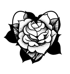 old school rose tattoo traditional black dot vector image