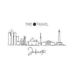 one continuous line drawing jakarta city vector image