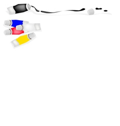 Paint Tube of Primary Colors with White and Black vector image