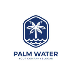 palm and water logo design vector image