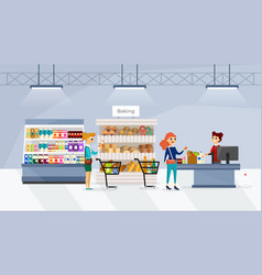 people going shopping in supermarket vector image