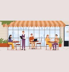 people in outdoor cafe restaurant street patio vector image