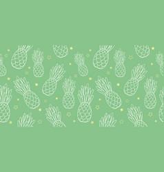 pineapples doodle green texture summer vector image