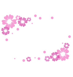 pink and violet flowers and dots on white vector image