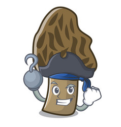 Pirate morel mushroom character cartoon vector