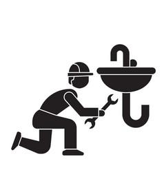 plumbing maintenance black concept icon vector image