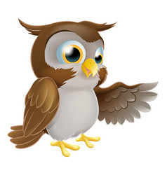 Pointing owl character vector