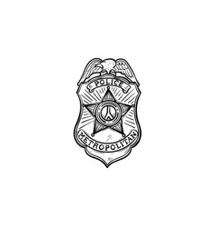 police badge hand drawn outline doodle icon vector image